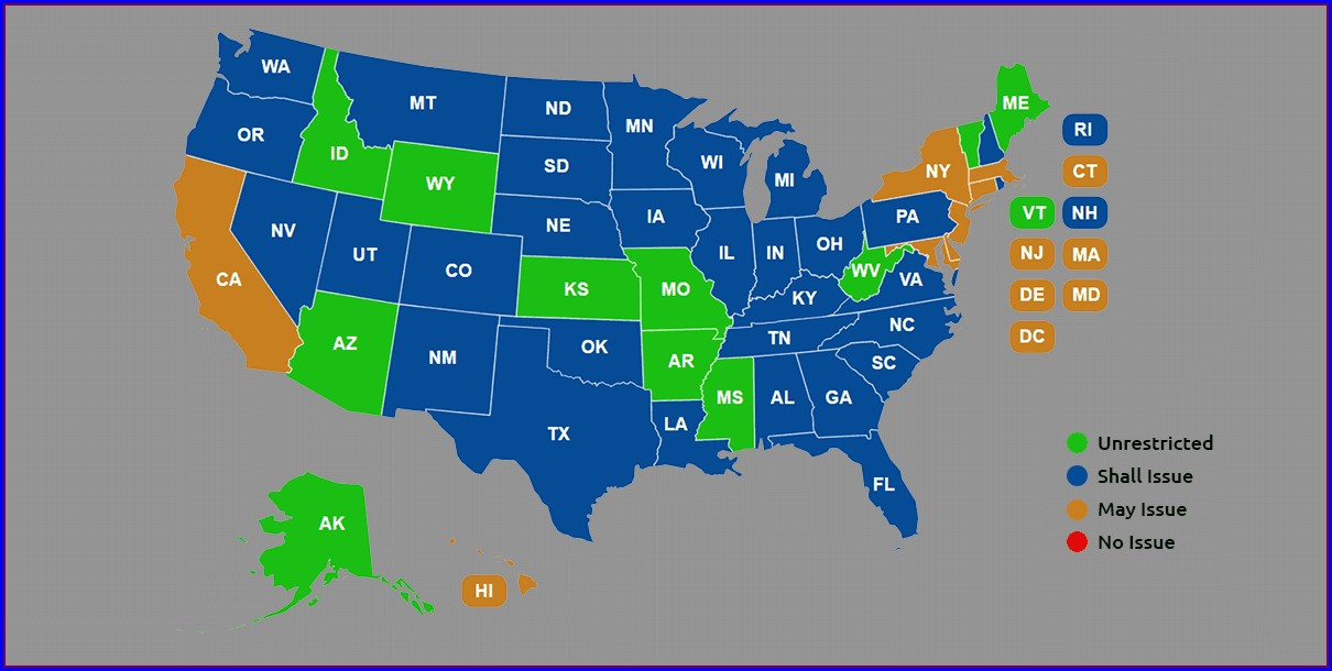 Wv Concealed Carry Permit Reciprocity Map