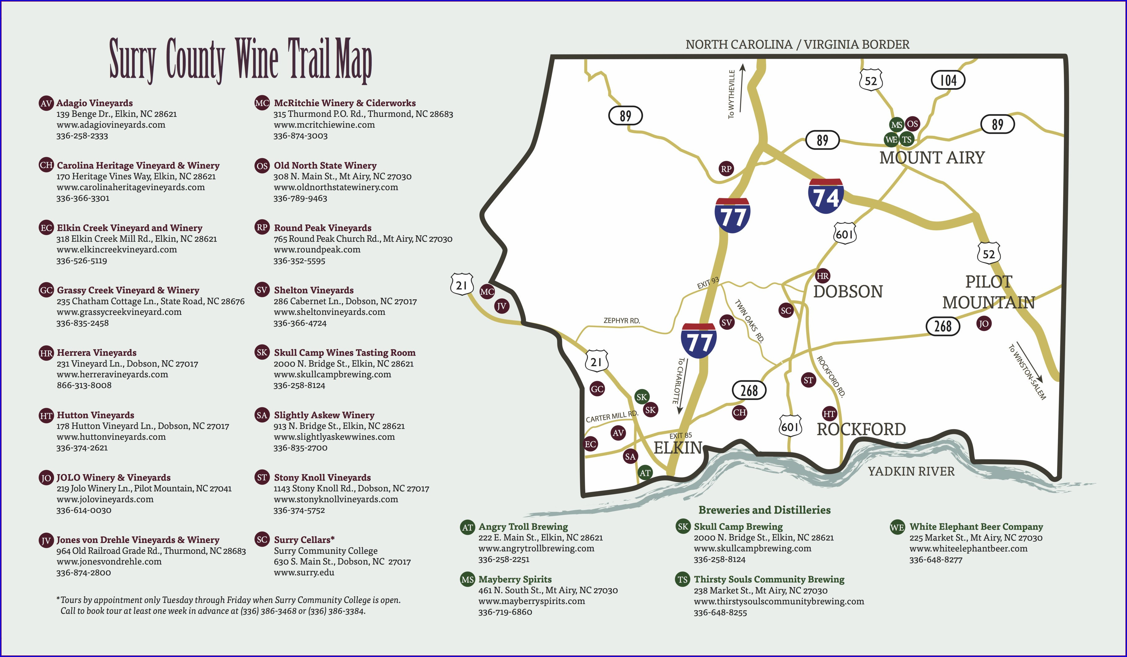 Yadkin Valley Wine Trail Map