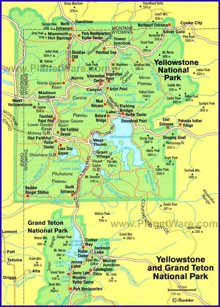 Yellowstone National Park Accommodation Map