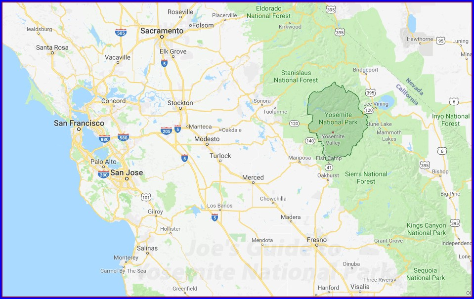 Yosemite Park Entrances Map