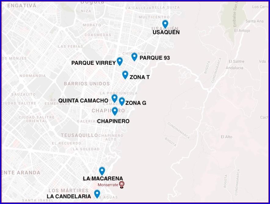 Zona Rosa Bogota Map