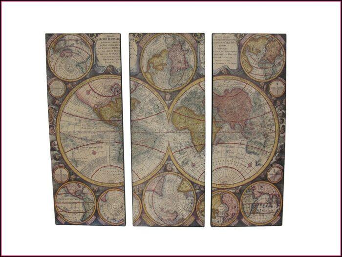 3 Piece Canvas World Map Walmart