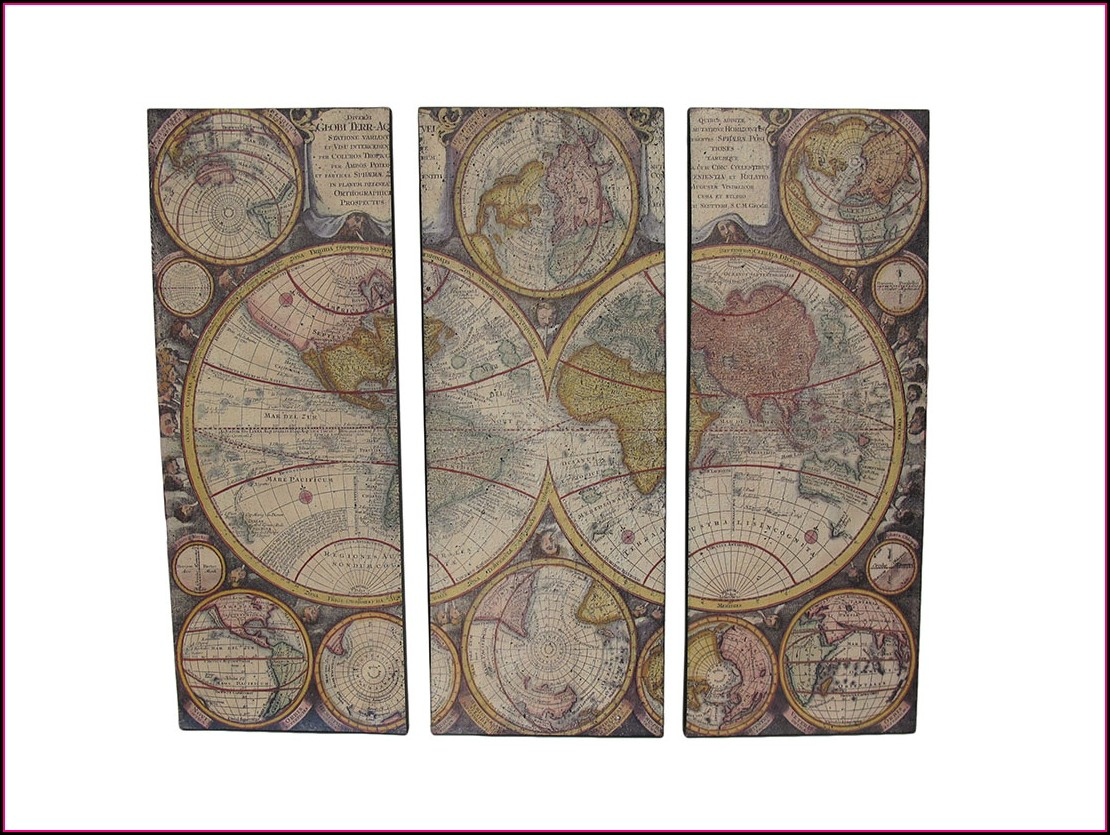3 Piece Canvas World Map Walmart