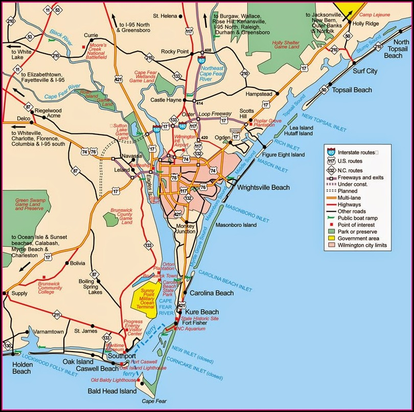 Map Of Wilmington Nc Beaches