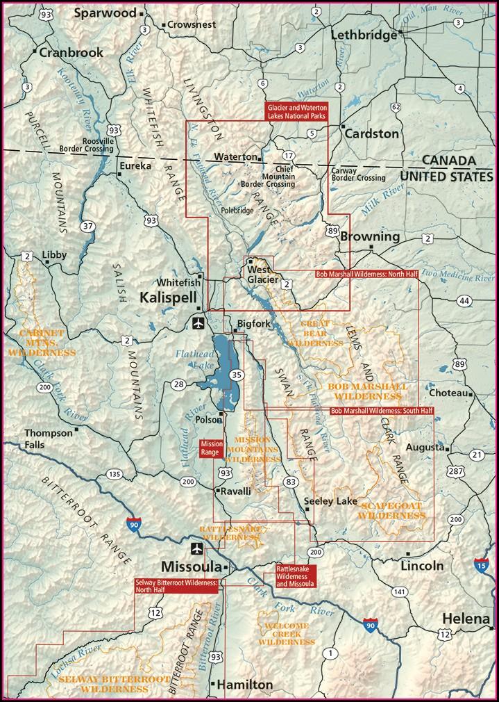 Map Waterton Lakes National Park