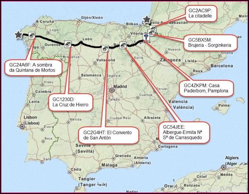 Walk Across Spain Camino De Santiago Map