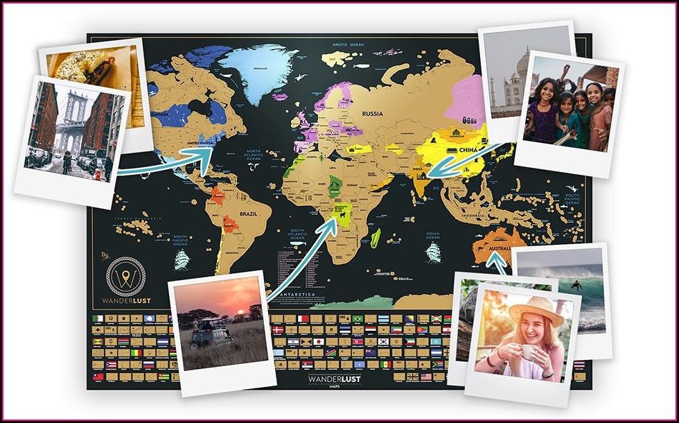 Wanderlust Map Scratch Off