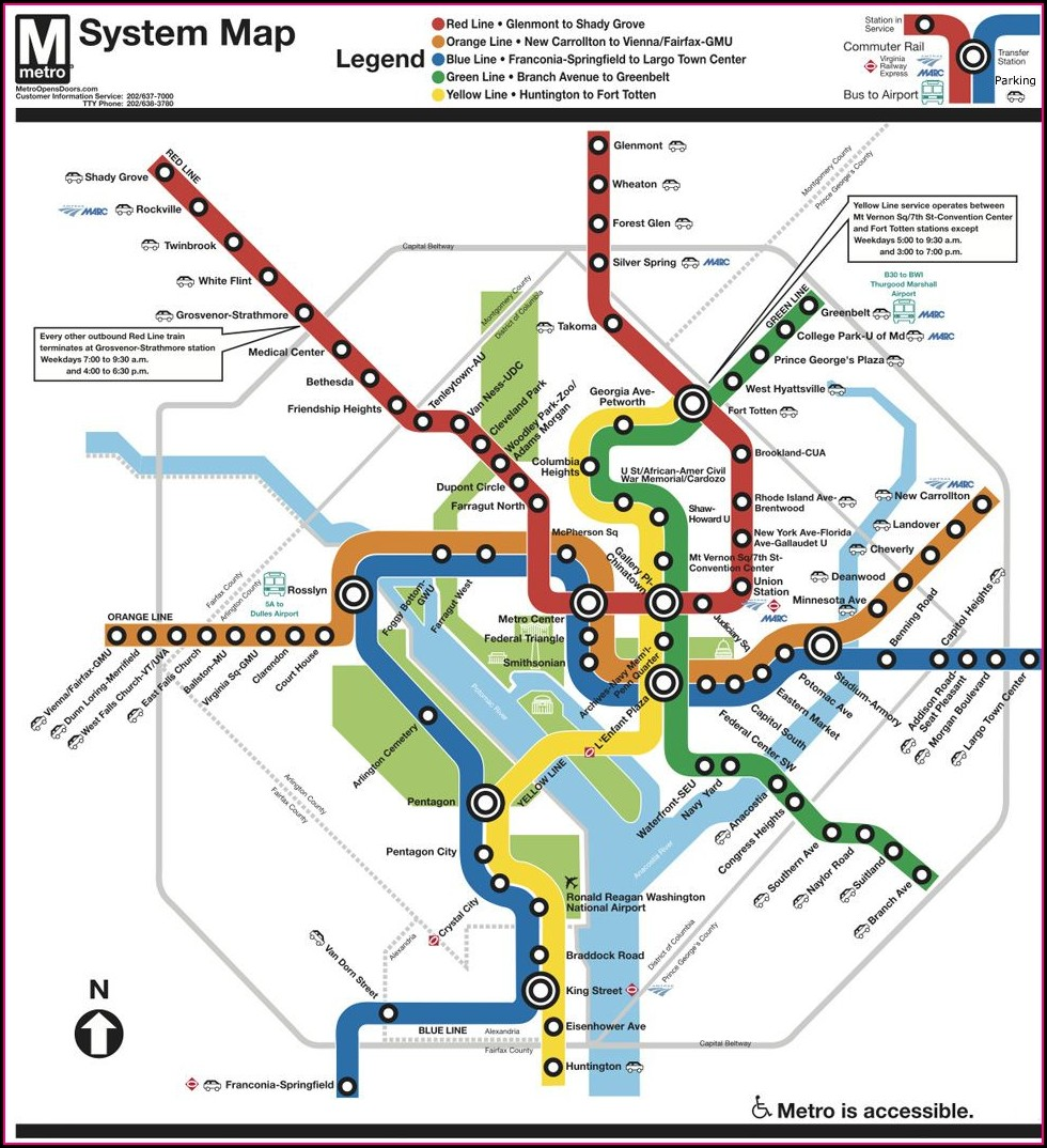 Washington Dc Subway Map Printable