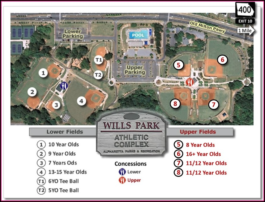 Wills Park Baseball Field Map