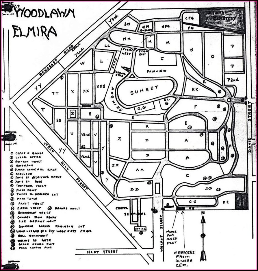 Woodlawn Cemetery Plot Map