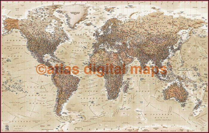 World Map Canvas Pinboard