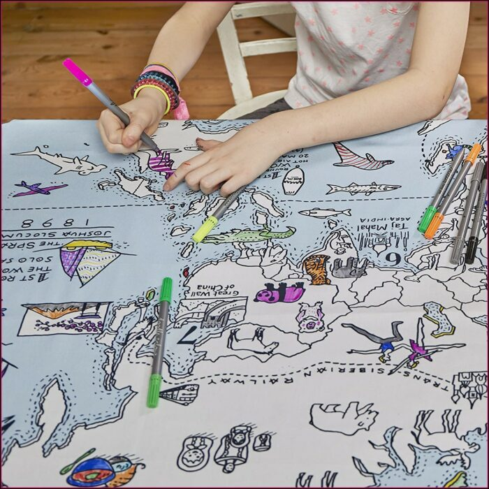 World Map Coloring Tablecloth Amazon