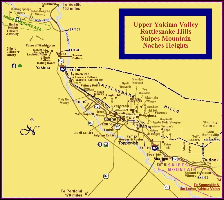 Yakima Valley Wineries Map
