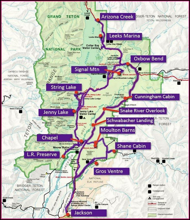 Yellowstone Grand Teton Loop Map