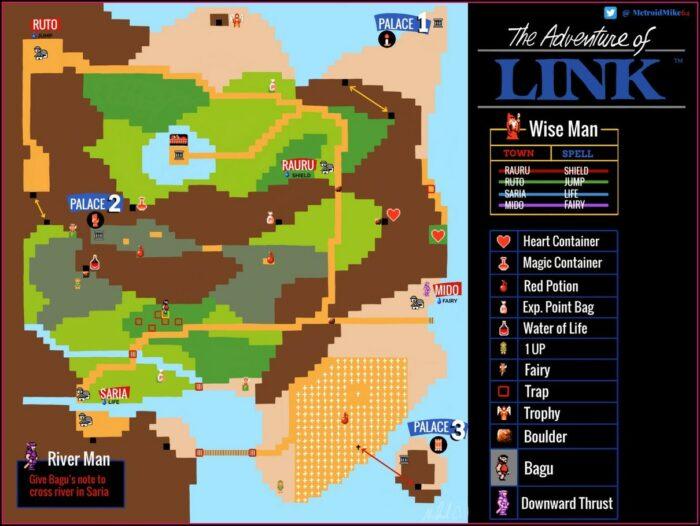 Zelda 2 Map Items