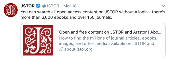 JSTOR - E-Book Offer