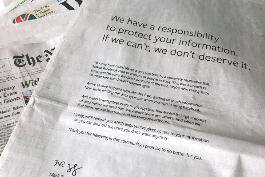 Facebook Apology for Cambridge Analytica
