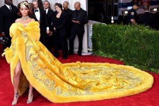 Rihanna wears Guo Pei dress and Christian Louboutin shoes
