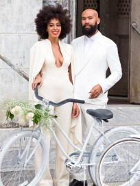 Solange wears a Stéphane Rolland Fall 2012 Couture jumpsuit with a cut-out back and cape detail for the pre-wedding festivities