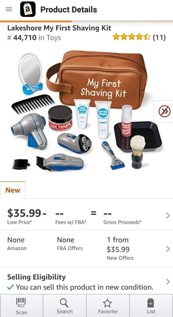 Capture d'écran de Amazon Selling App montrant Hazmat icon