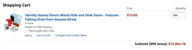 Panier Amazon montrant 999 inventaire disponible