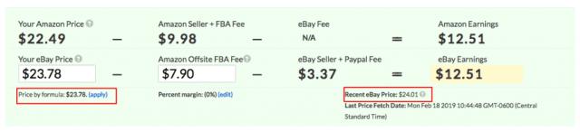 Formule de tarification JoeLister sur la page de liste eBay