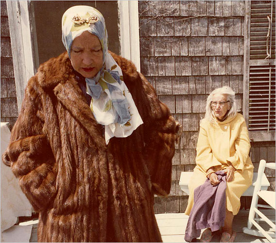 """Albert Maysles revisited the Beales himself in 2006 with """"The Beales of Grey Gardens,"""" an assemblage of outtakes from the original documentary.  Little Edie (foreground) and Big Edie outside their East Hampton home."""