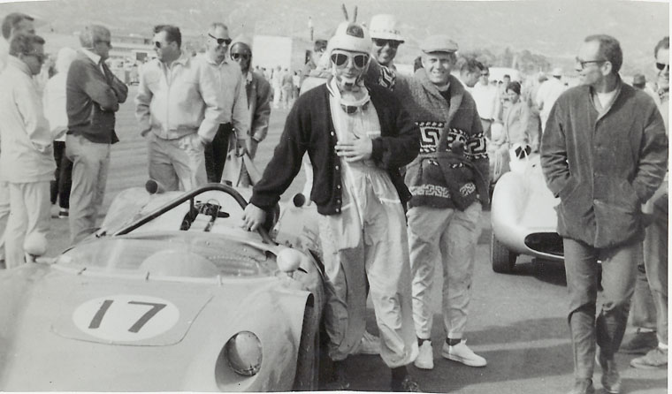 Racing sweaters?  Holy hand-knits!  Steve McQueen & co. goofin' & relaxin' off-track in cozy sweaters.  Outta sight.