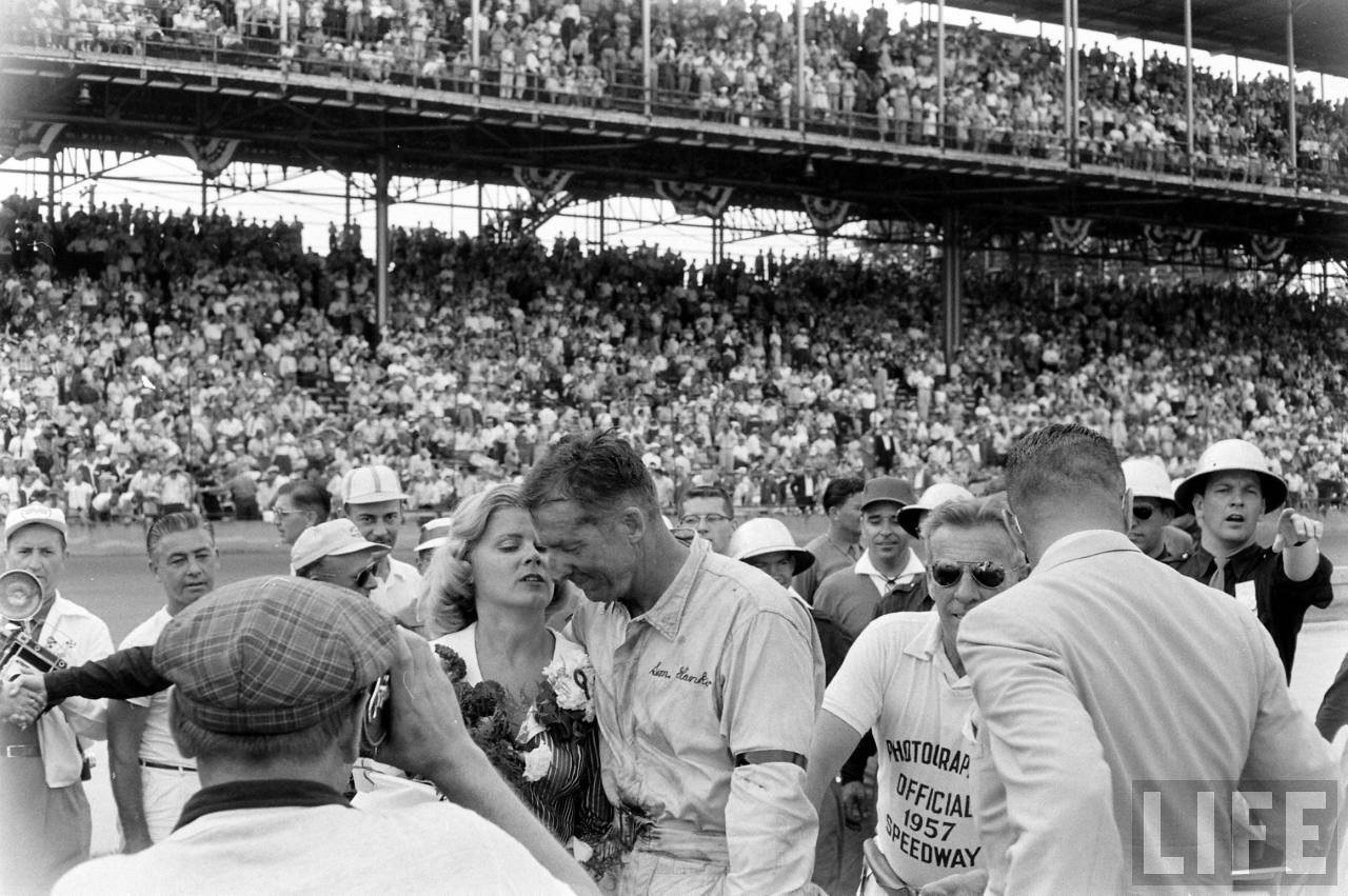 Winner of the 1957 Indy 500 Sam Hask and wife.