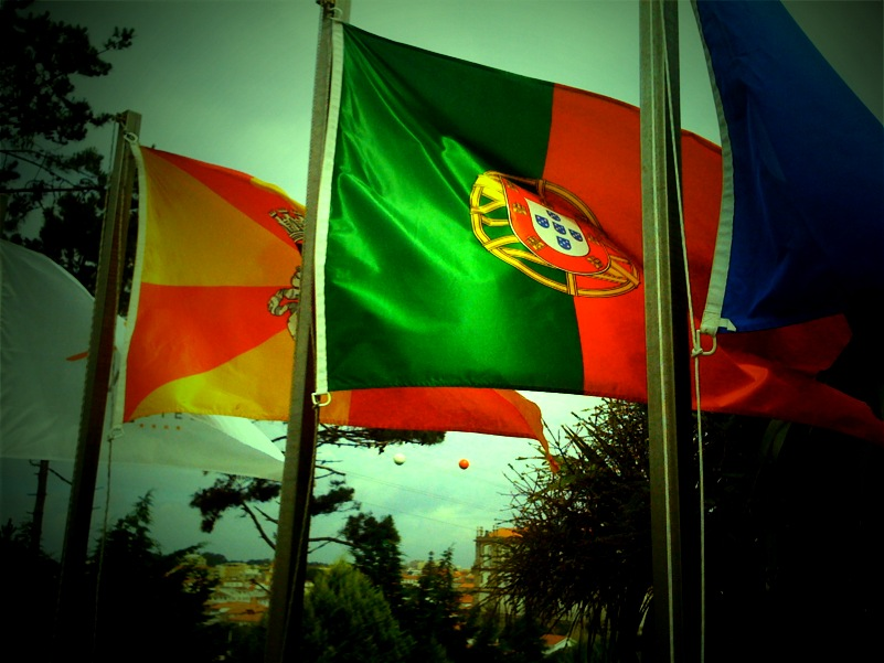 Flags at Santana Hotel in Vila do Conde, Portugal.