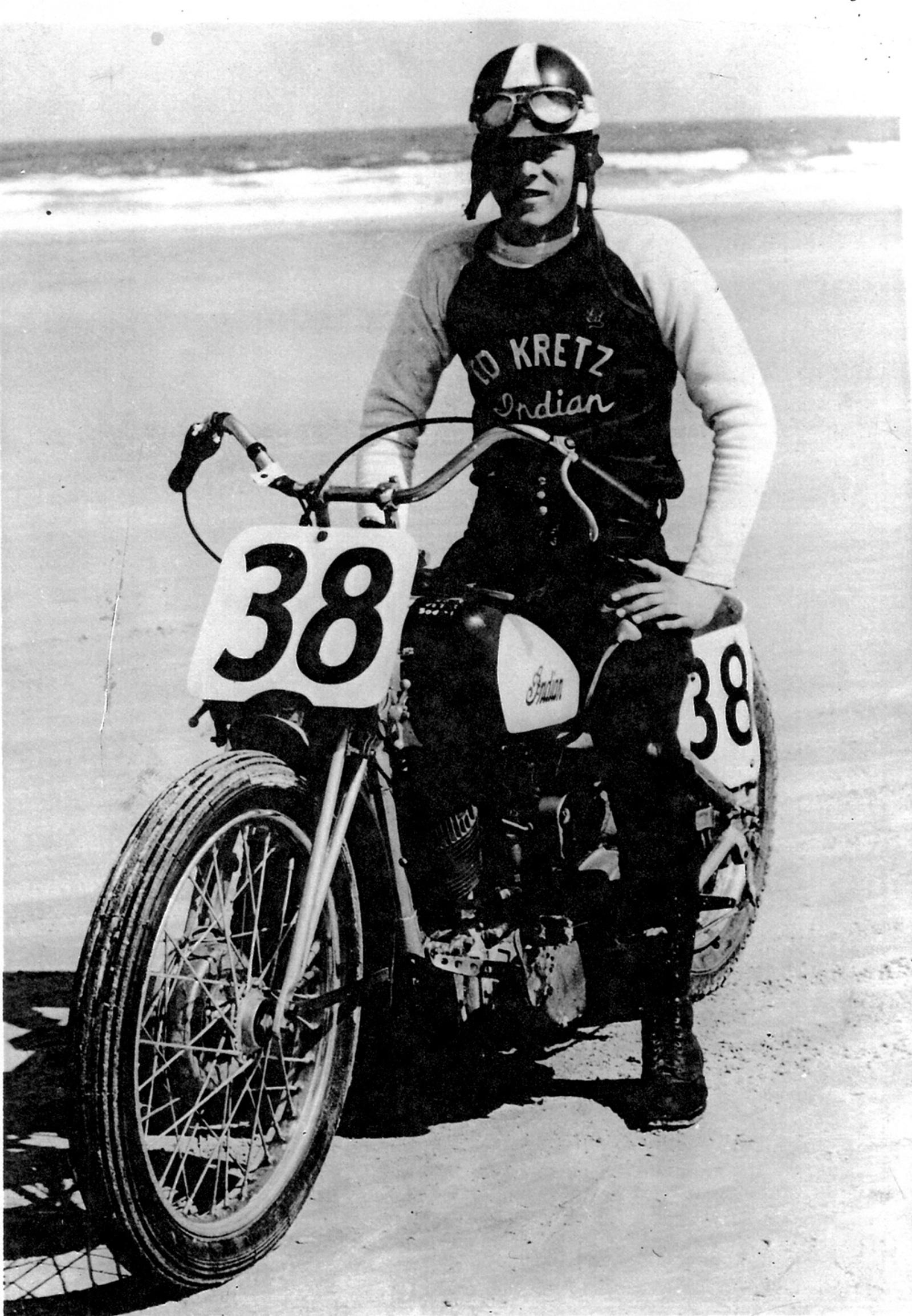 "Motorcycle racing great ""Iron Man"" Ed Kretz Sr. on his trusty Triumph."