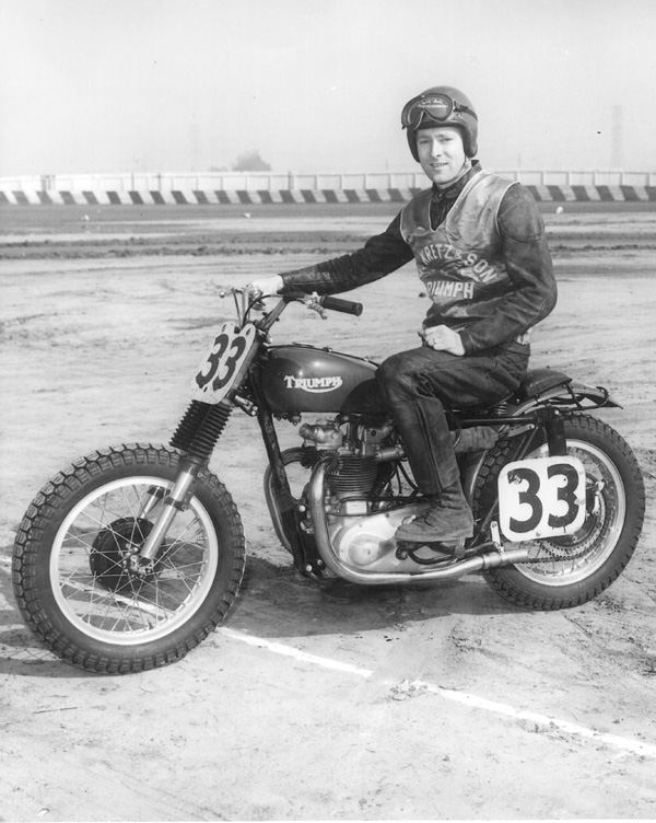Ed Kretz Jr. aboard his Triumph which he favored for their power.