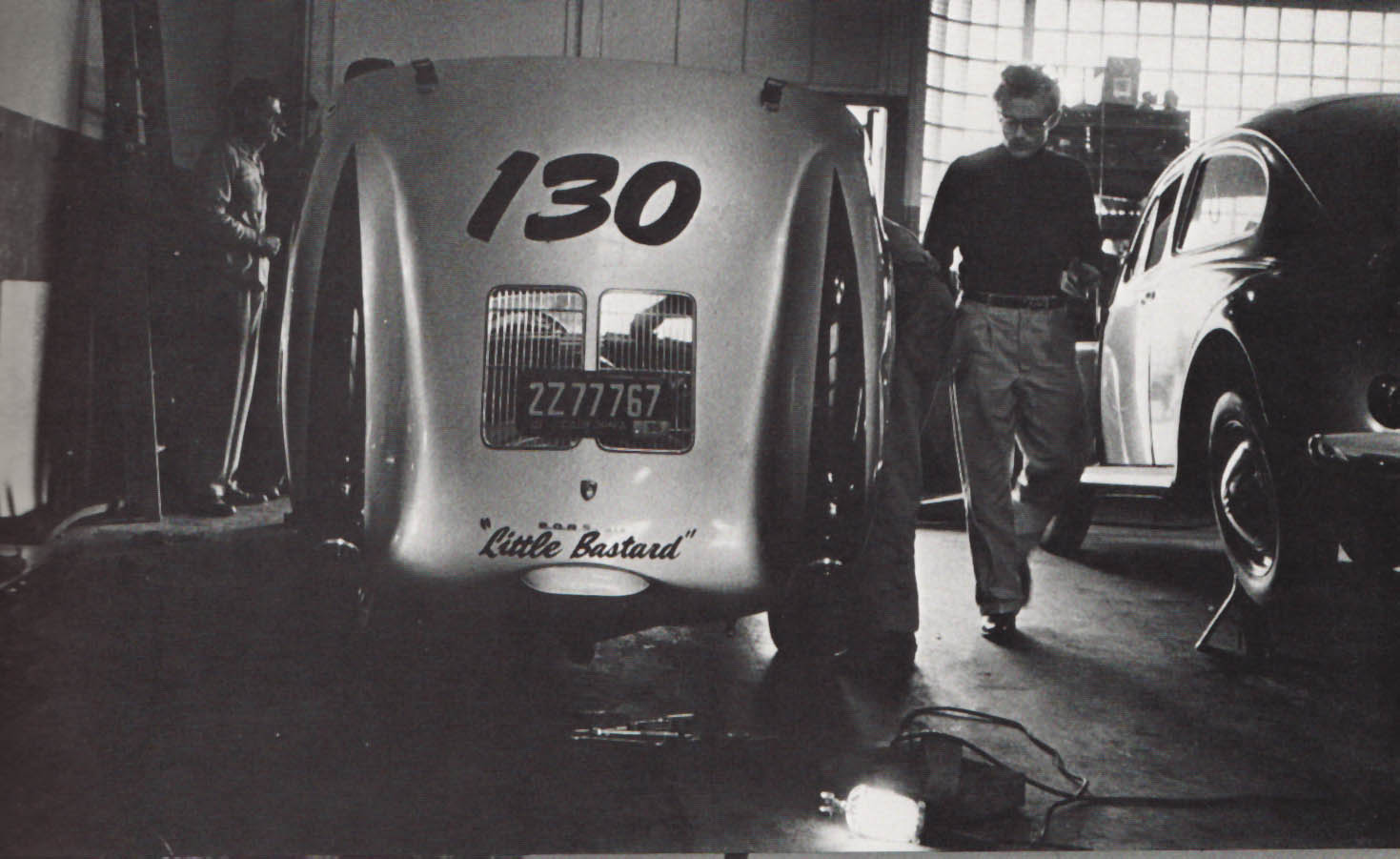 "ames Dean and his 1955 Silver Porsche Spyder-- ""Little Bastard"""