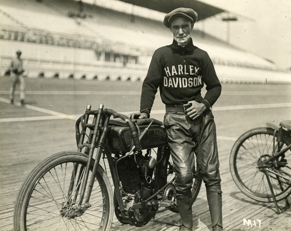Jim Davis with Harley-Davidson board-tracker.