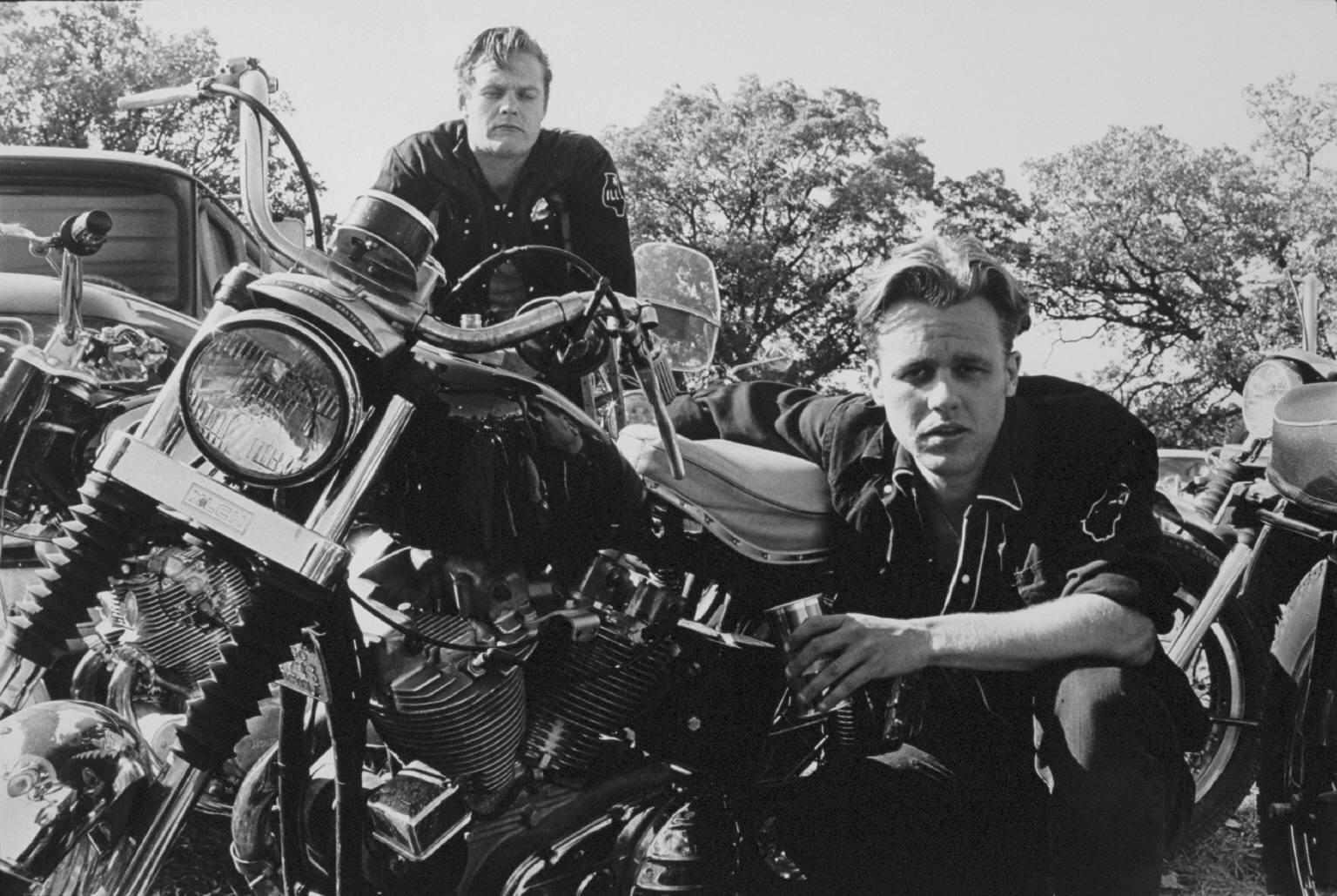 """""""Brucie, his CH, and Crazy Charlie, McHenry, Illinois""""  from The Bikeriders by Danny Lyon  --circa 1965-66."""