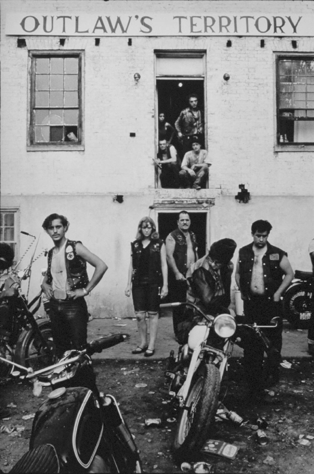 """""""Clubhouse during the Columbus run, Dayton, Ohio""""  from The Bikeriders by Danny Lyon  --circa 1965-66."""