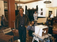 1980 --- American actor Jack Nicholson and director Stanley Kubrick on the set of his movie The Shining, based on the novel by Stephen King. --- Image by © Sunset Boulevard/Corbis