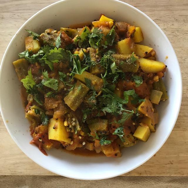 Okra and potato masala