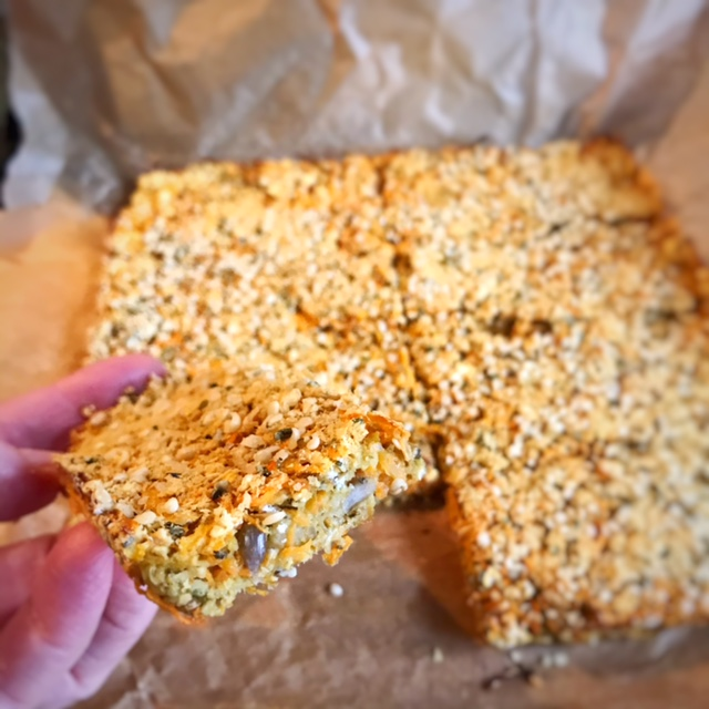 Savoury carrot flapjacks