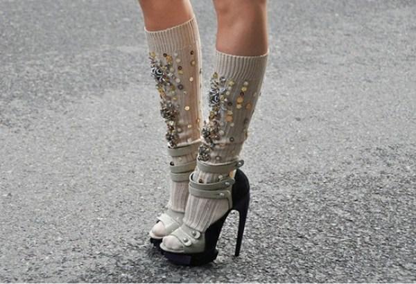 embellished socks sandals