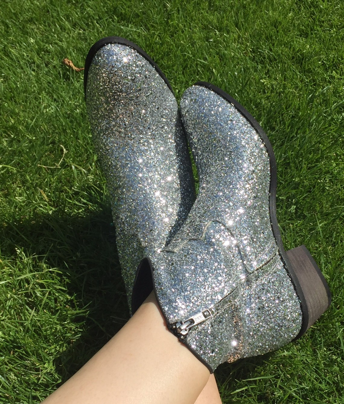 Silver glitter boots cowboy diva seven boot lane