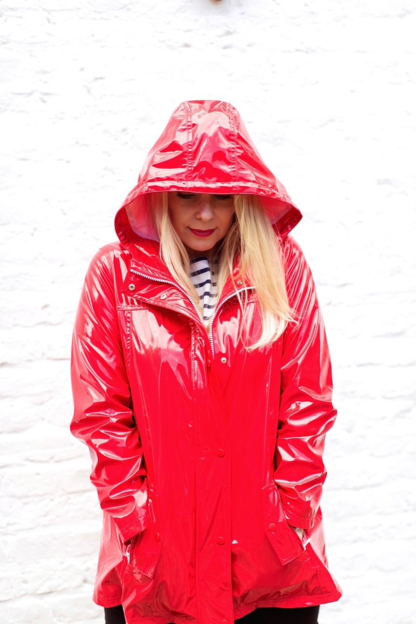 shiny red rain slicker hood