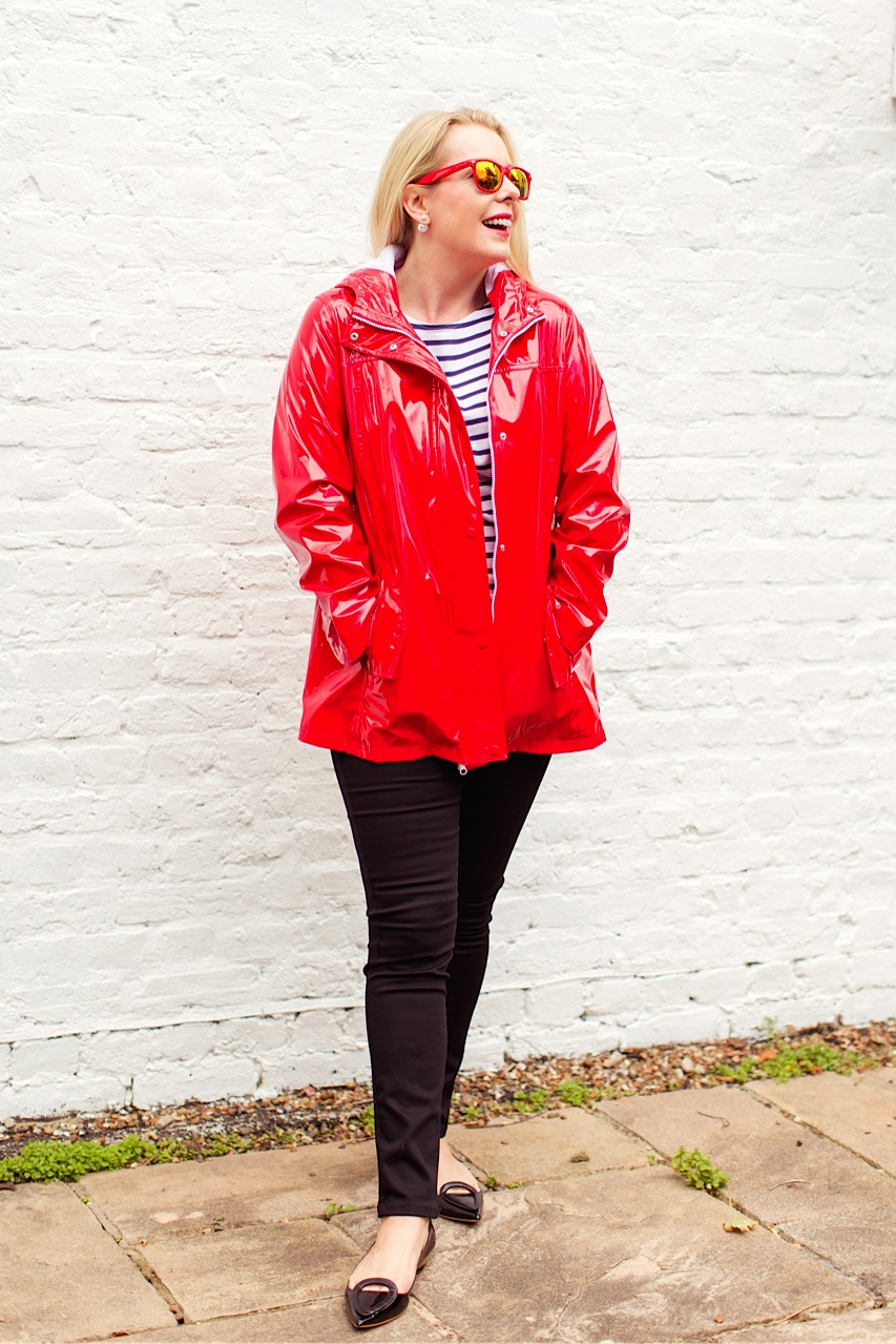 Red shiny raincoat M&S
