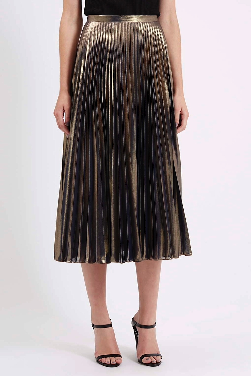 Topshop gold lame pleated skirt