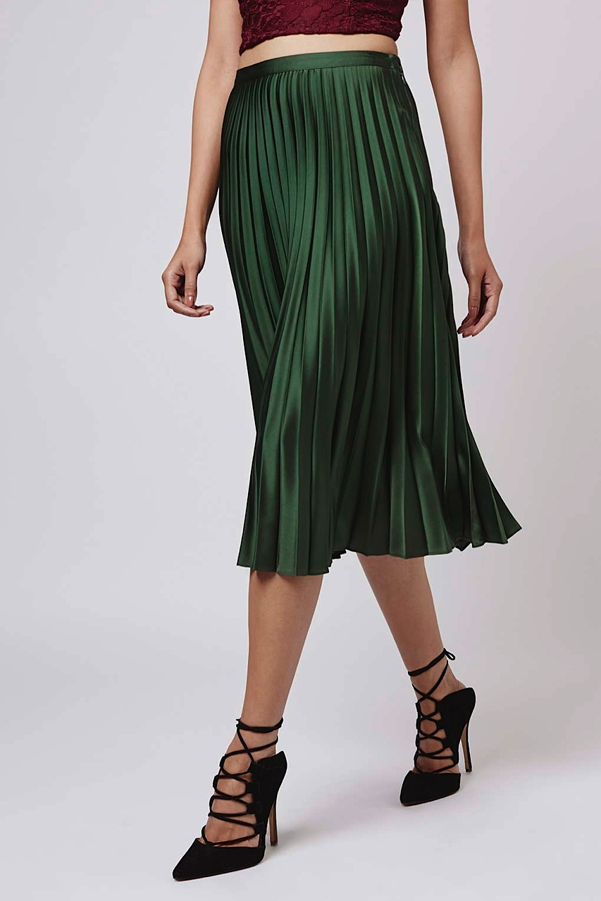 Topshop green pleated skirt