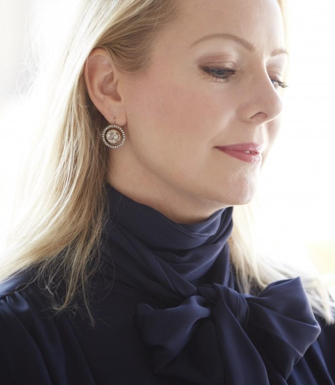 navy silk blouse bow winser