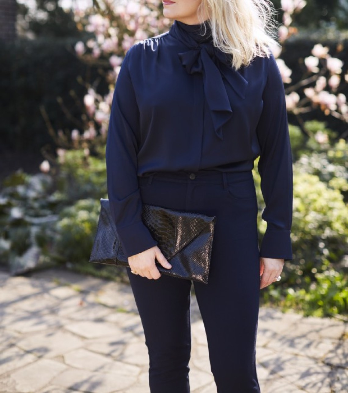 winser london navy pussybow silk blouse sequinist