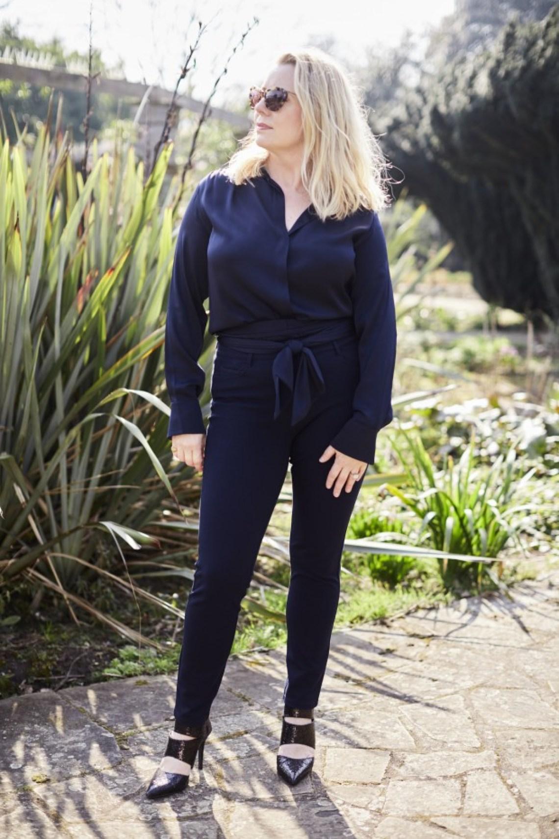 silk blouse jeans