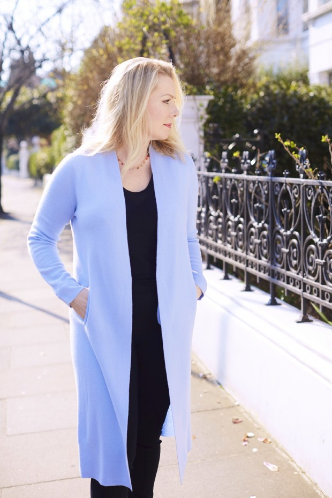 light blue knit coat Winser