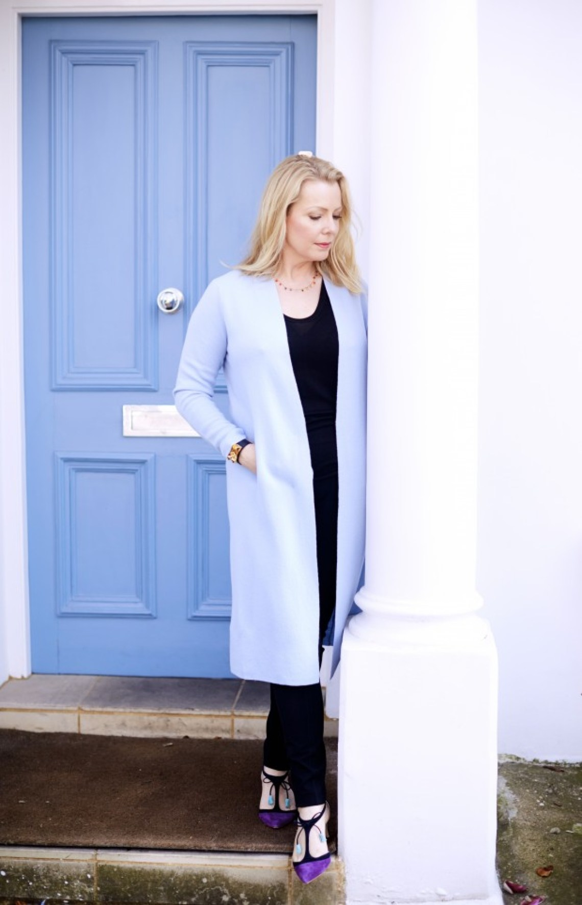 sky blue door and coat